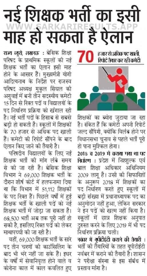 UP Primary Teacher Bharti Latest News 2021